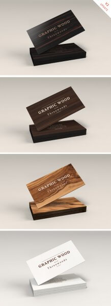 Mockup cartes de visite bois