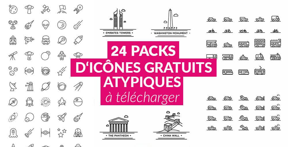 24 packs d u0026 39 ic u00f4nes gratuits originaux et atypiques  u00e0