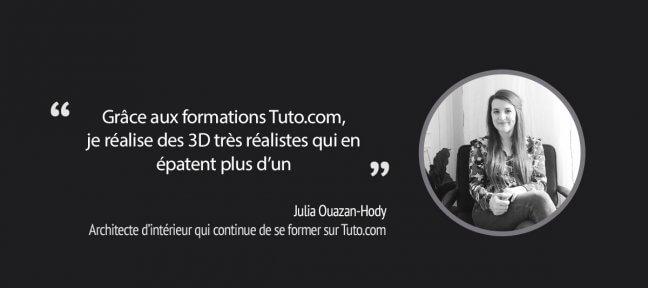 Architecte d'intérieur, Julia continue de se former sur Tuto.com