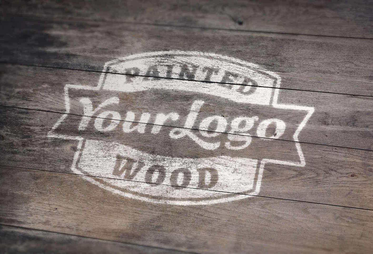 Painted-Wood-Logo-Mockup