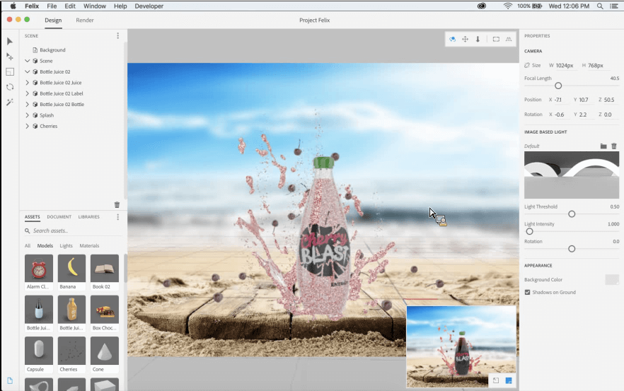 compositing 3d dans Adobe Felix
