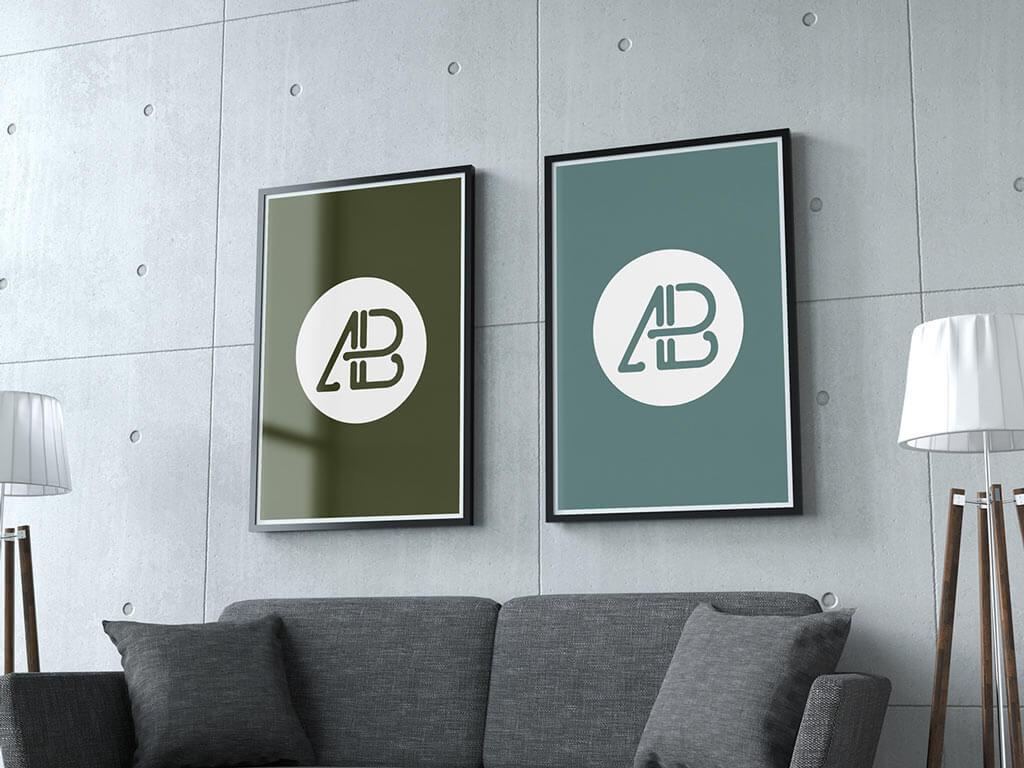 Posters In Interieur : Mockups de posters gratuits pour mettre en valeur vos affiches