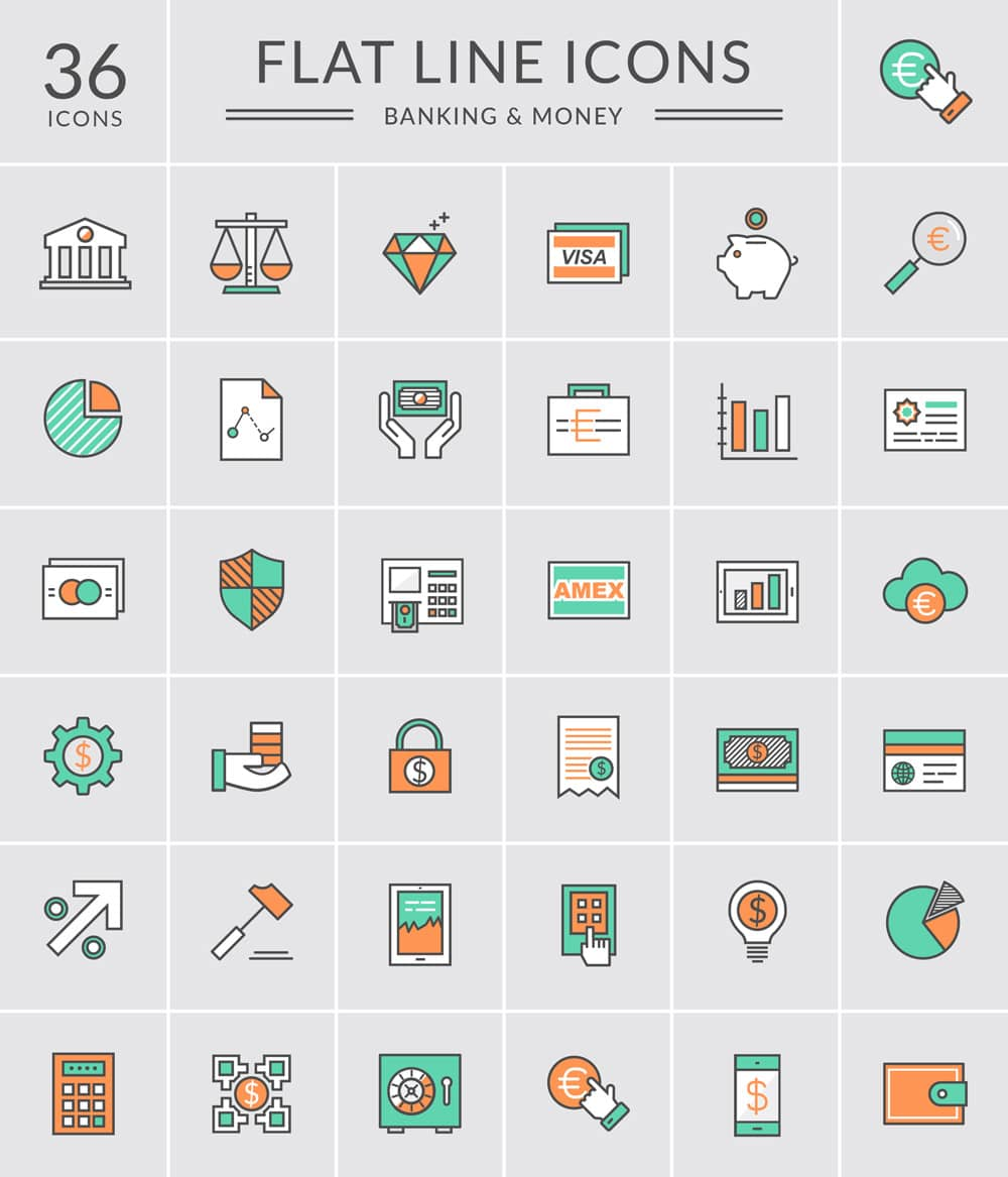 flat-line-banking-money-icons