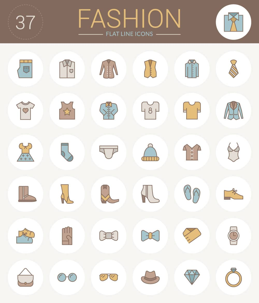 free-flat-line-fashion-icons-pack