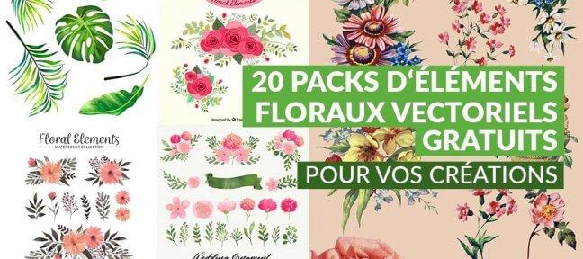 20 packs d'éléments floraux vectoriels gratuits pour vos créations