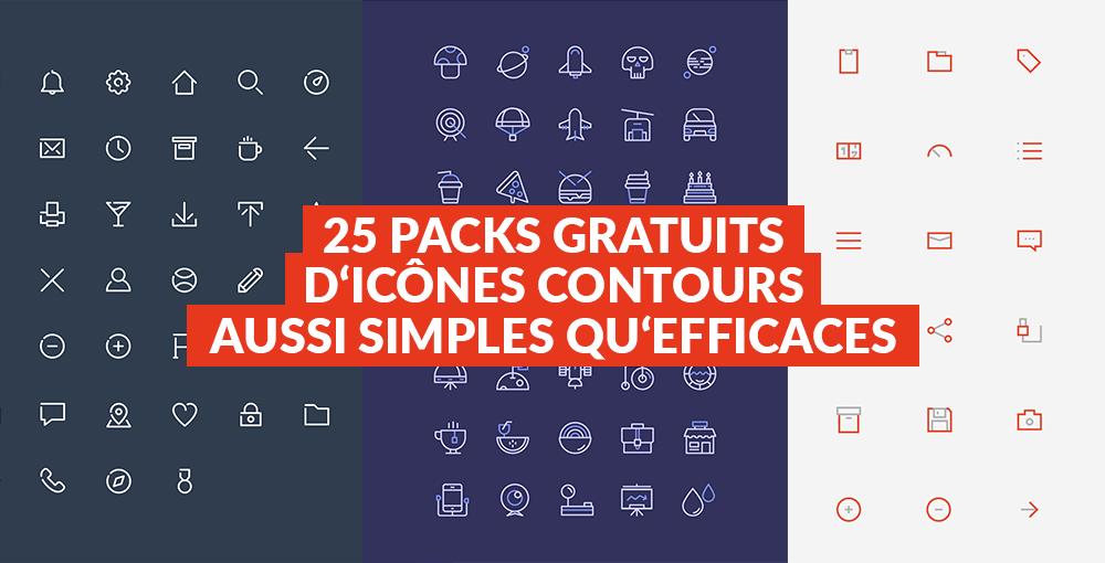 25 packs d'icônes contours gratuites aussi simples qu'efficaces