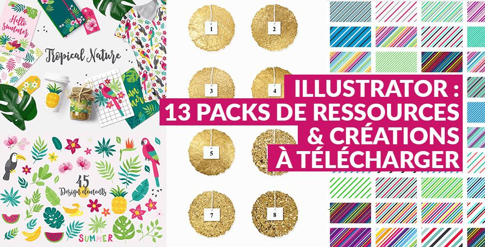 Illustrator : 13 packs de ressources et créations à télécharger