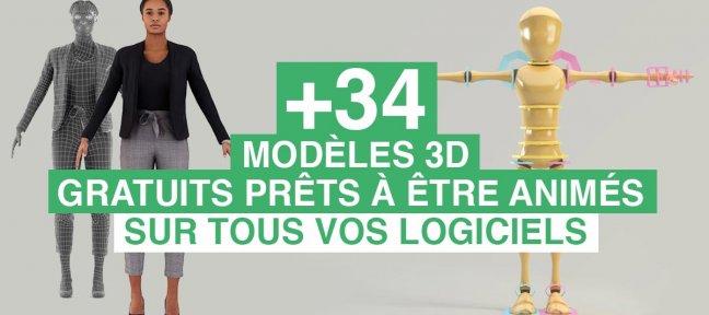 34 persos 3D gratuits prêts à être animés