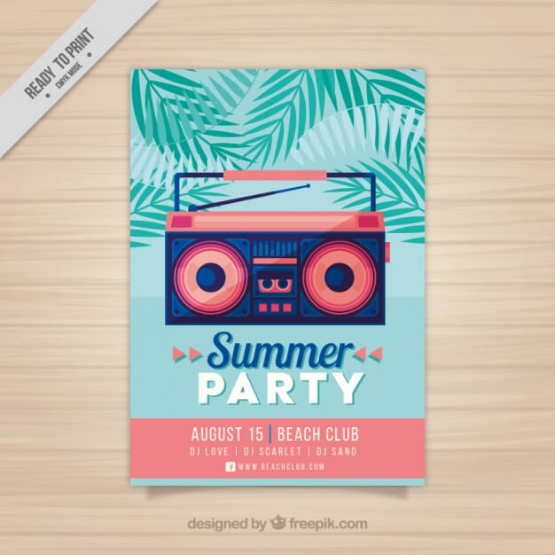 modern-summer-party-flyer-radio-cassette