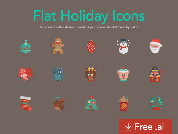 noel-flat-holiday-icons
