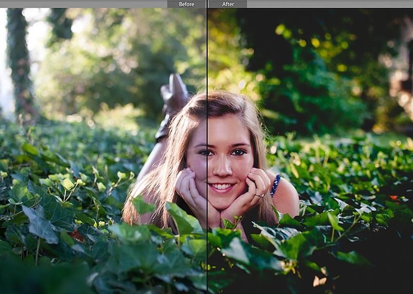 обработка фото насытить зелень осени рисунок осенней