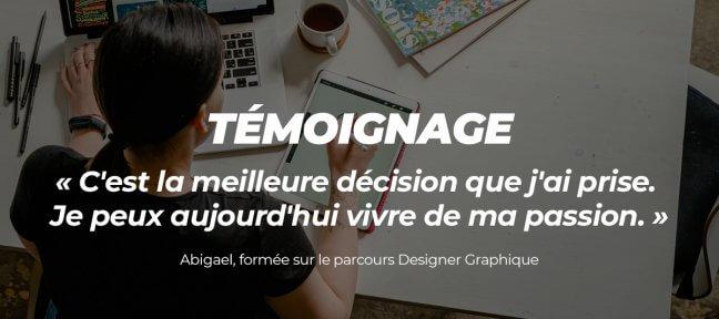 La formation PRO Designer Graphique, suivie par Abigael