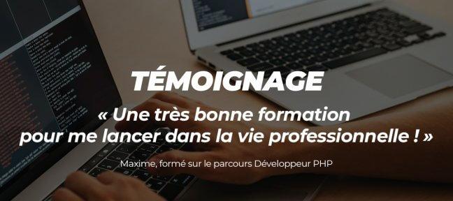 Témoignage : Maxime a suivi notre parcours Développeur PHP
