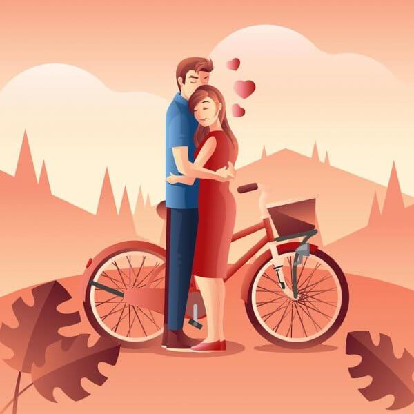 vecteur amoureux à vélo
